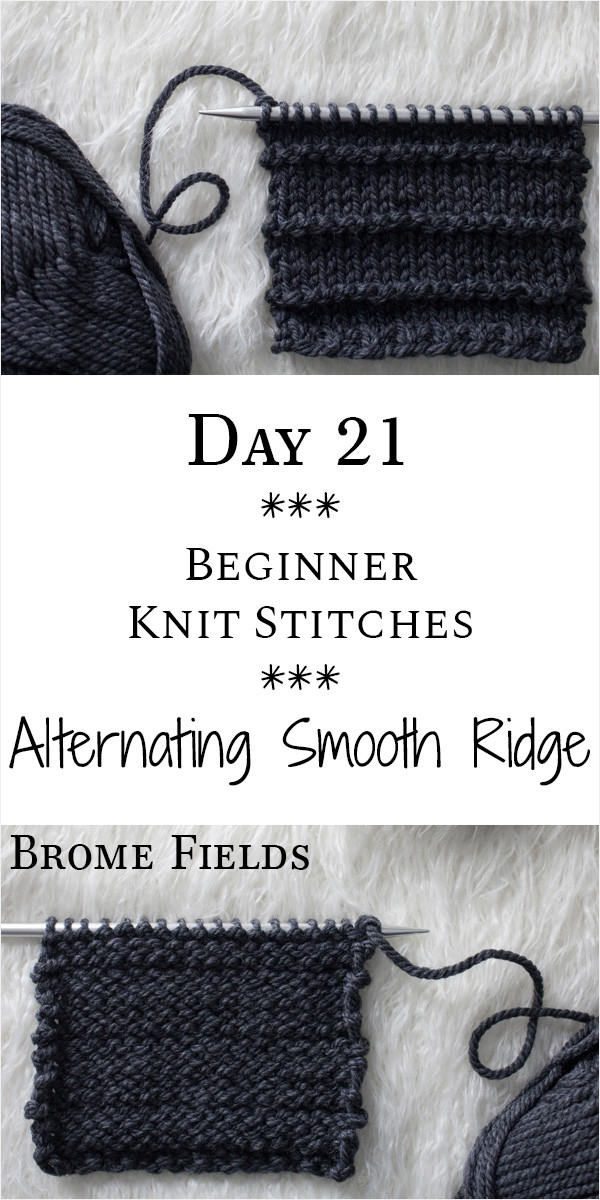 Alternating Smooth & Ridge Knit Stitch : Day 21 of the 21 Days of Beginner Knit Stitches : Brome Fields