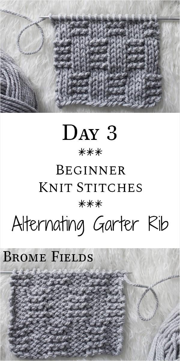Alternating Garter Rib Knit Stitch : Day 3 of the 21 Days of Beginner Knit Stitches : Brome Fields