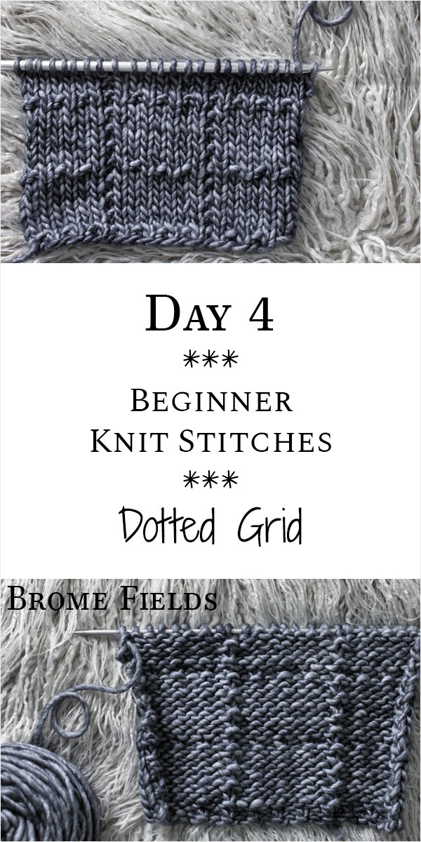 Dotted Grid Knit Stitch : Day 4 of the 21 Days of Beginner Knit Stitches : Brome Fields