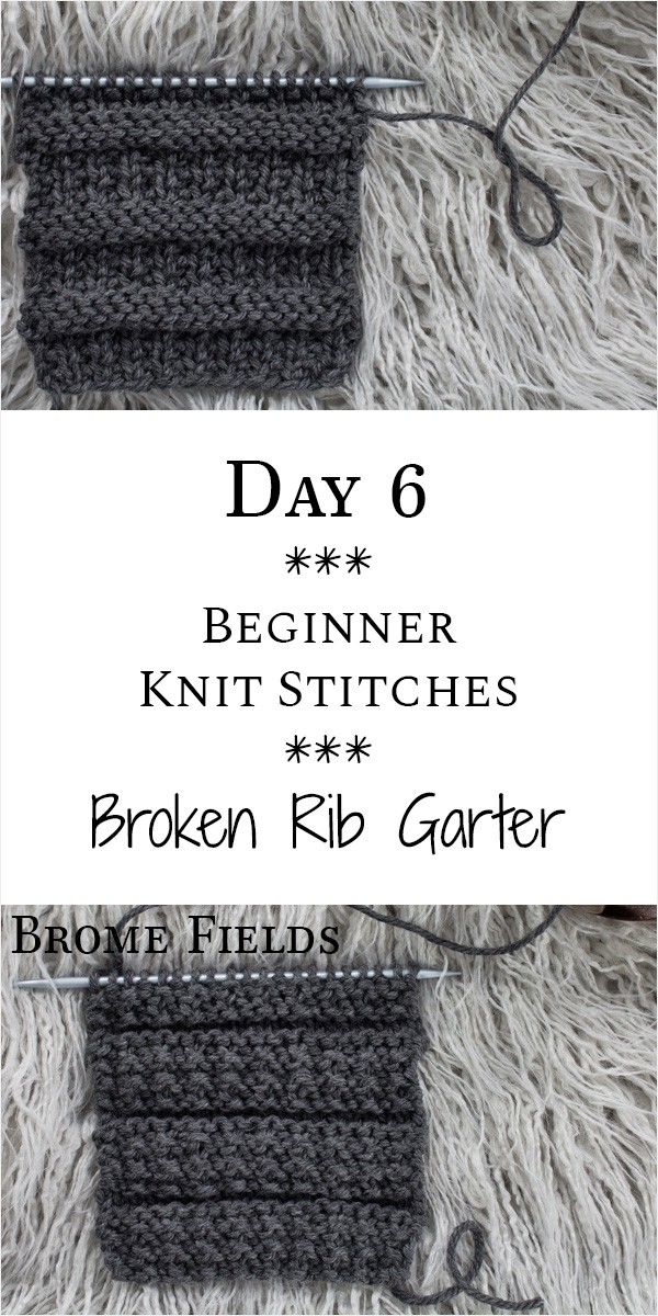 Broken Rib Garter Knit Stitch : Day 6 of the 21 Days of Beginner Knit Stitches : Brome Fields