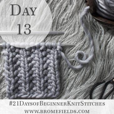Seed Rib Stitch Knit Stitch : Day 13 of the 21 Days of Beginner Knit Stitches : Brome Fields : #21daysofbeginnerknitstitches