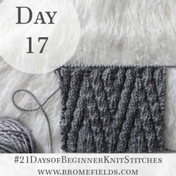 Elongated Chevron Knit Stitch : Day 17 of the 21 Days of Beginner Knit Stitches : Brome Fields : #21daysofbeginnerknitstitches