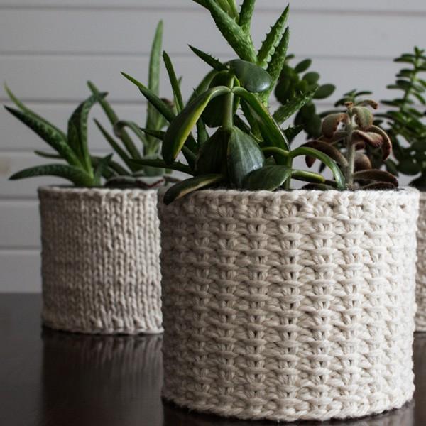 Jute Knit Stitch Plant Cozy Knitting Pattern