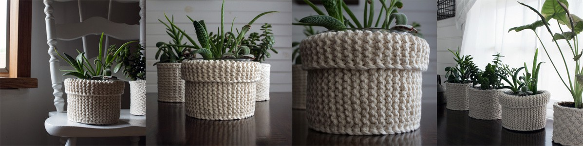 Garter Stitch Plant Pot Knitting Pattern