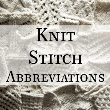 Knitting Abbreviations : Knit Stitch Abbreviations : Brome Fields