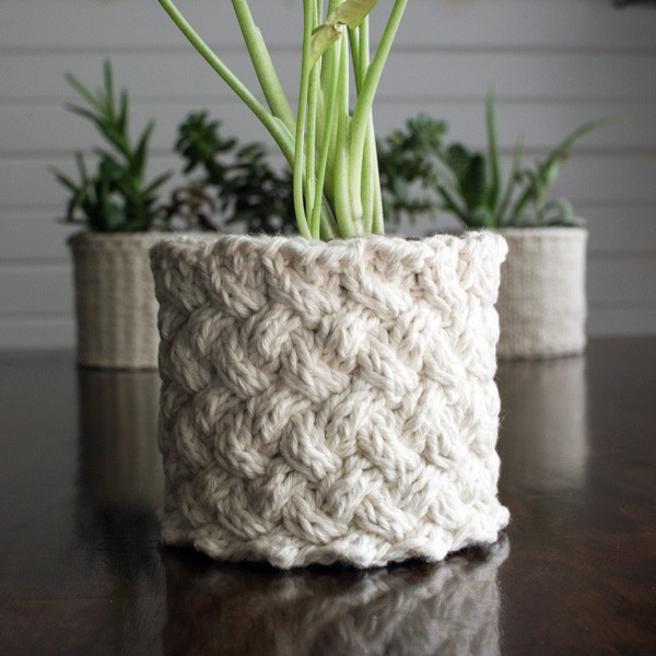 {FREE} Lattice Stitch Plant Cozy Knitting Pattern