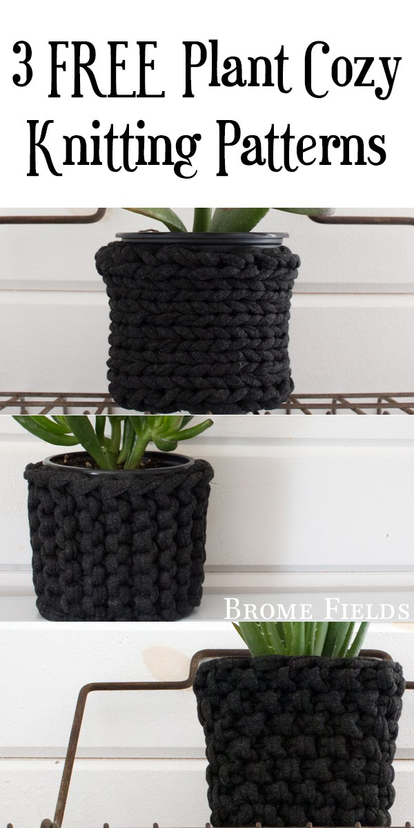 Grab these 3 FREE quick & easy plant cozy beginner knitting patterns! I used Jersey Be Good Upcycled T-Shirt Yarn by Wool and the Gang.