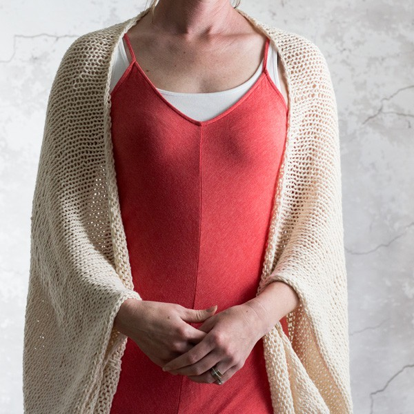 model wearing knitted summer shrug
