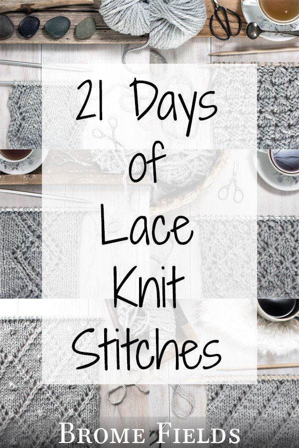 Multiple photos of lace knit swatches