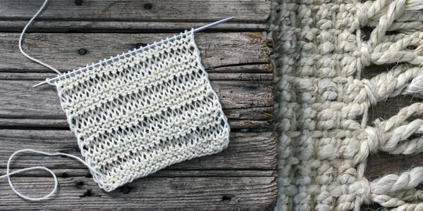 Elongated Knit Stitch Swatch Using Malabrigo Sock Yarn
