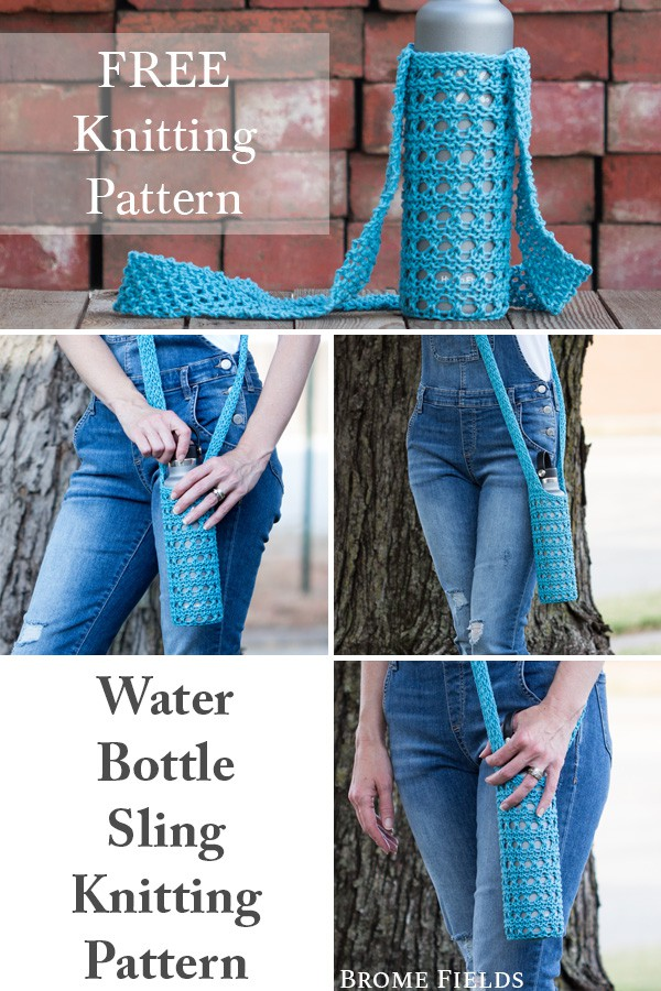 Multiple Photos of a Knitted Water Bottle Sling