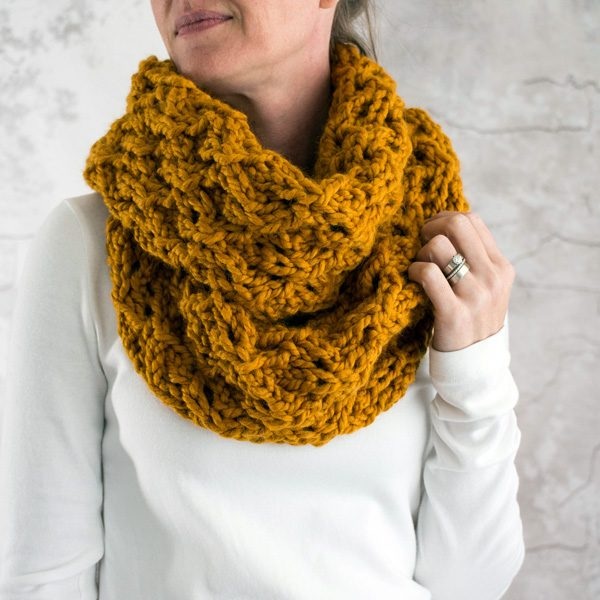 Model Wearing a Super Bulky Lace Scarf