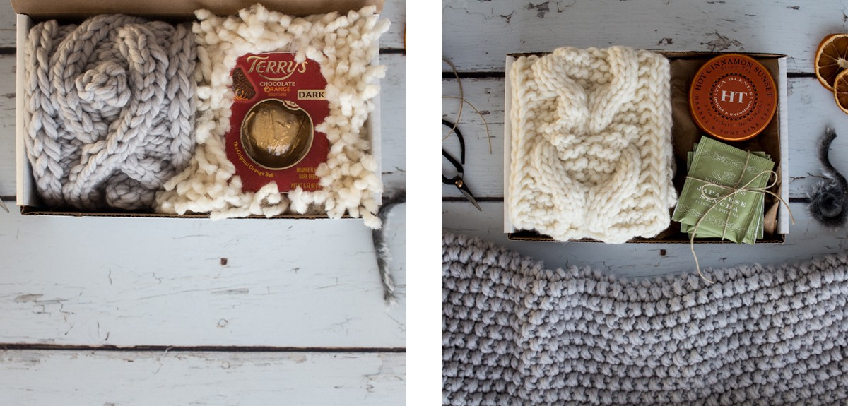 two images of Christmas gift sets with knitted items, chocolate and tea
