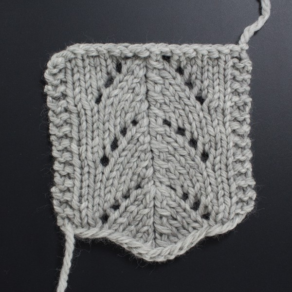 Up-close Photo of the Front Side of the Little Rainbow Lace Knit Stitch
