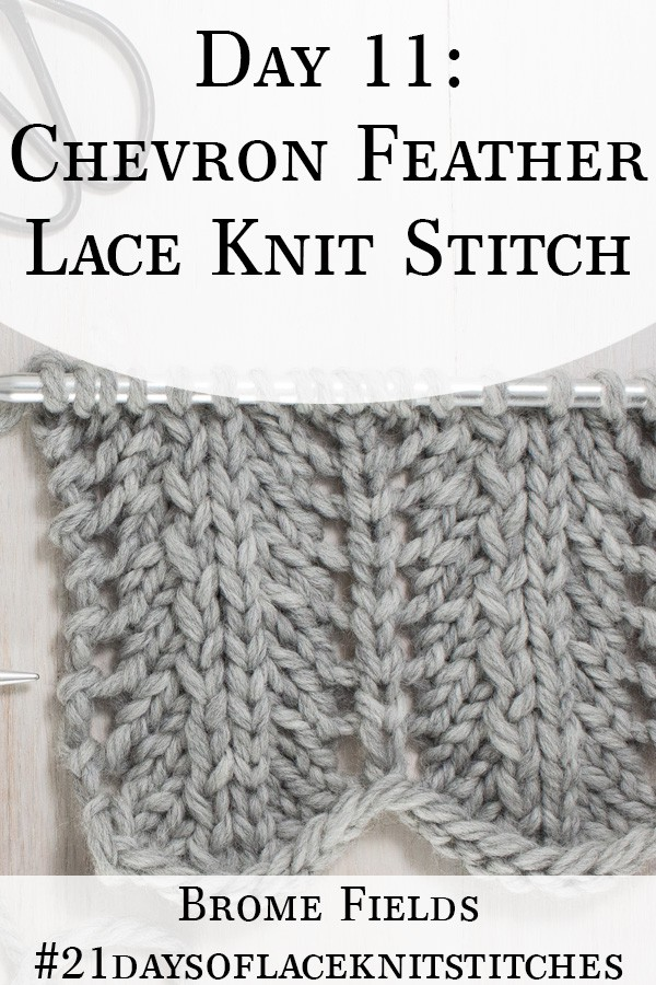 Swatch of Chevron Fan & Feather Lace Knit Stitch