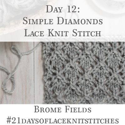 Swatch of the Simple Diamonds Lace Knit Stitch