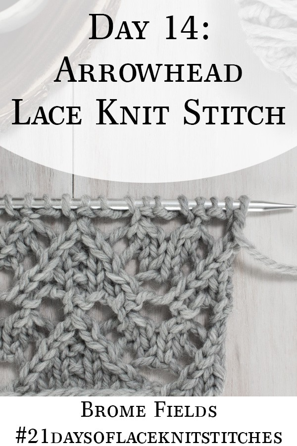 Swatch of the Arrowhead Lace Knit Stitch