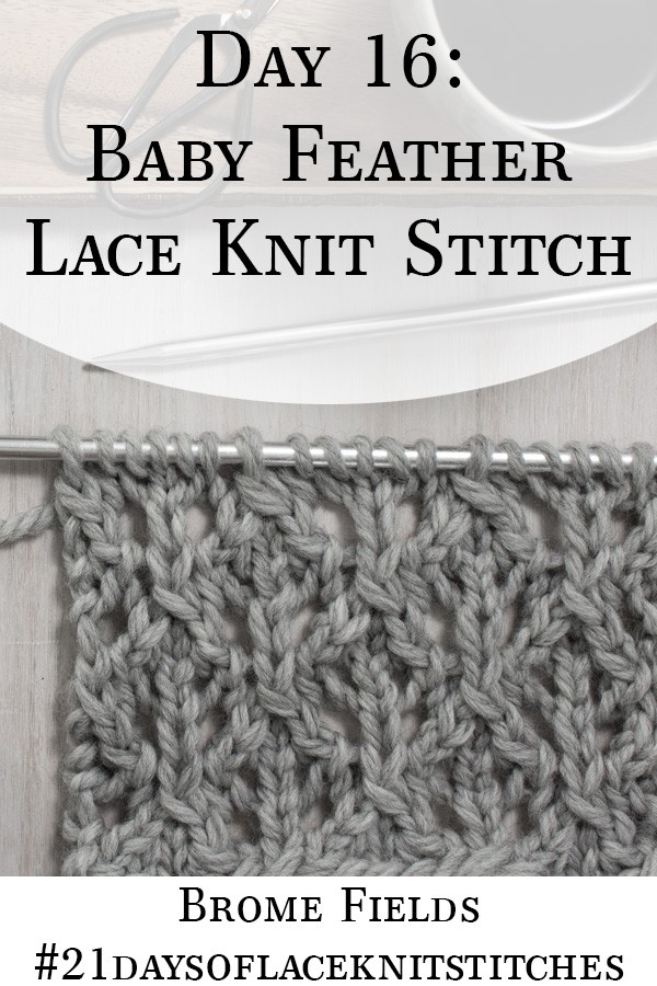 Swatch of the Baby Feather Diamond Lace Knit Stitch
