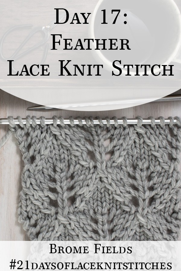 Swatch of the Feather Diamond Lace Knit Stitch