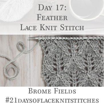 Swatch of the Feather Diamond Lace Knit Stitch