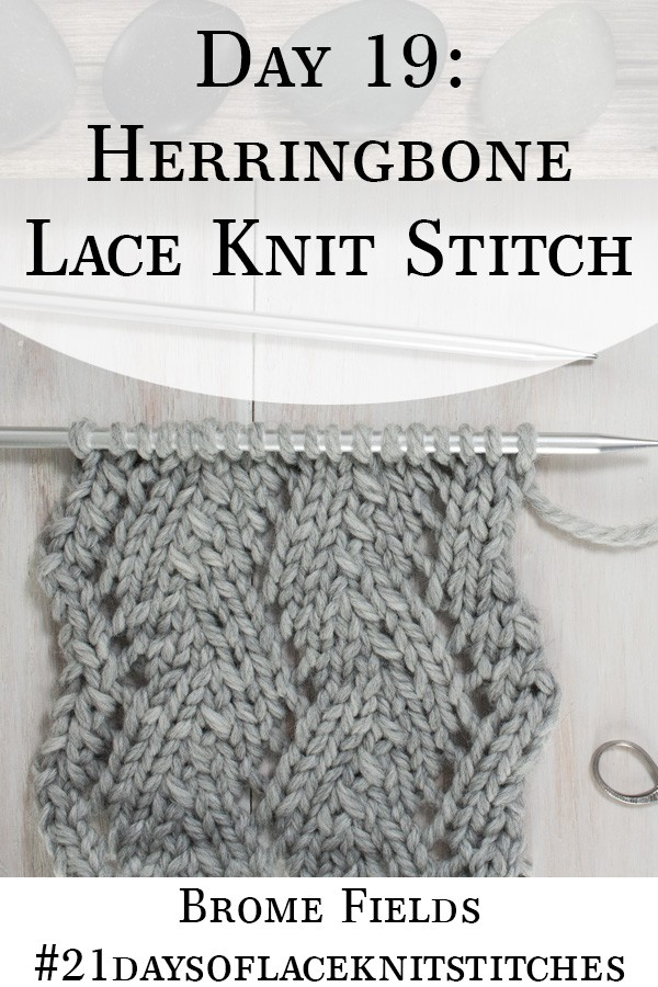 Swatch of the Back Side of the Herringbone Lace Knit Stitch