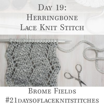 Swatch of the Herringbone Lace Knit Stitch