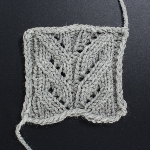 Swatch of the Front Side of the Cascading Leaves Lace Knit Stitch