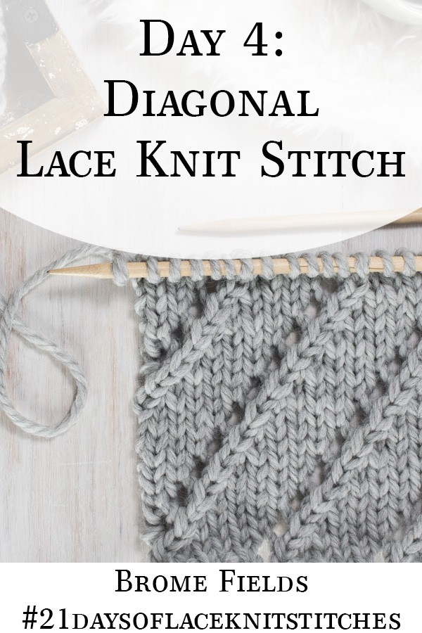 Up-close Photo of the Front Side of the Diagonal Lace Knit Stitch
