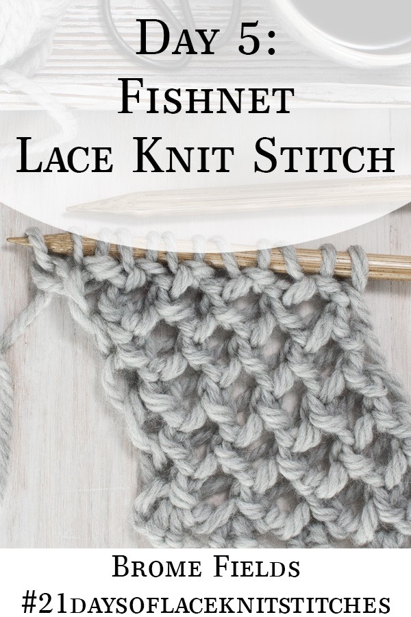 Swatch of Fishnet Lace Knit Stitch