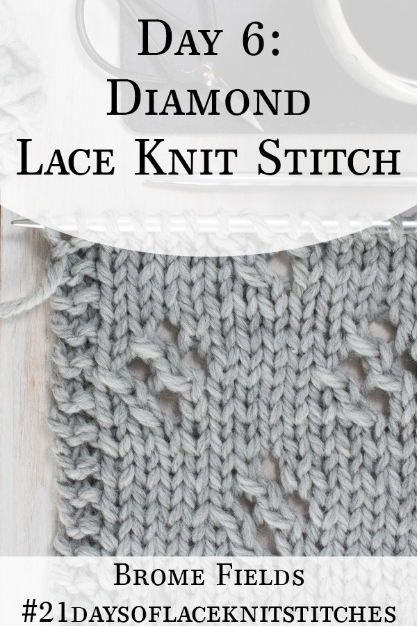 Swatch of the Diamond Lace Knit Stitch