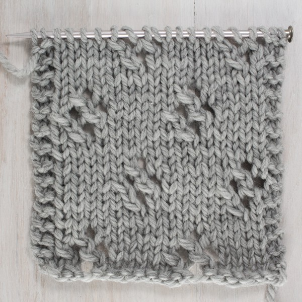 Up-close Photo of the Front Side of the Diamond Lace Knit Stitch