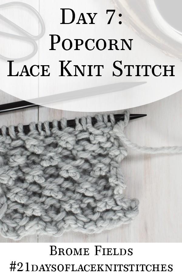 Swatch of the Popcorn Lace Knit Stitch