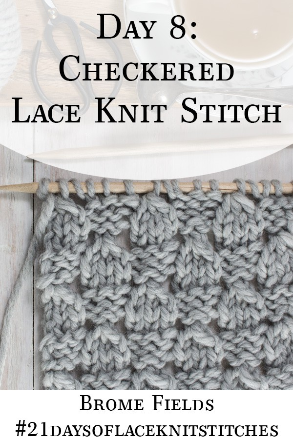 Swatch of the Checkered Lace Knit Stitch