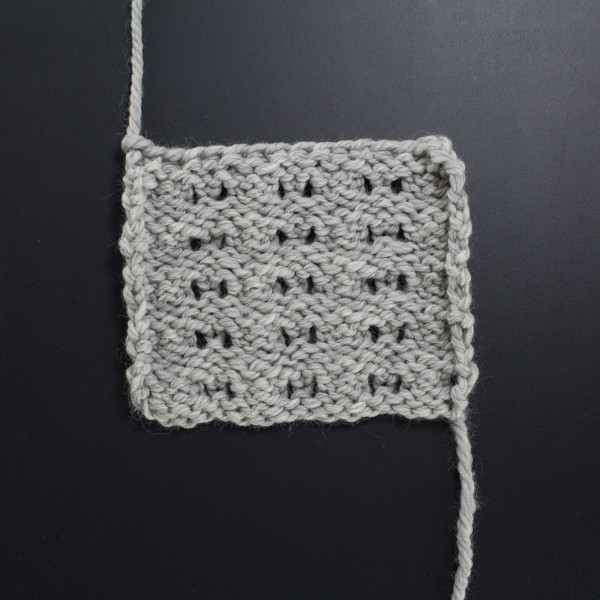 Up-close Photo of the Back Side of the Little Fountain Lace Knit Stitch