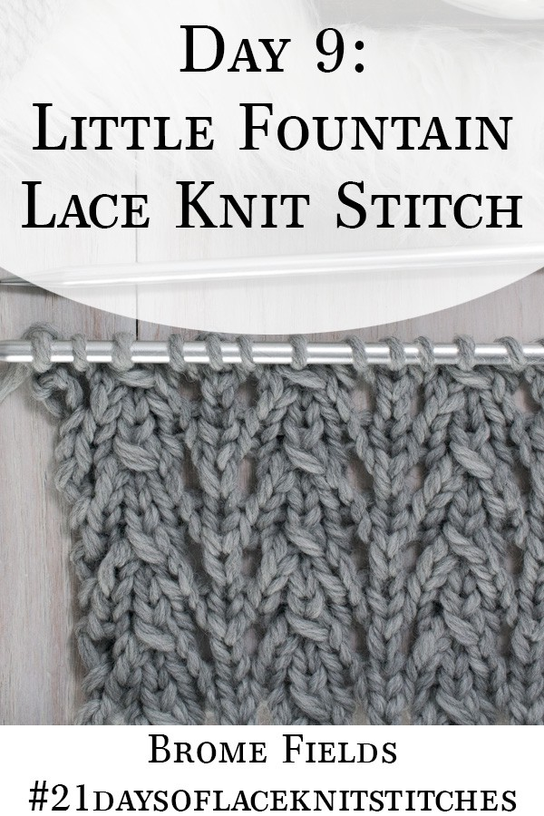 Swatch of the Little Fountain Lace Knit Stitch