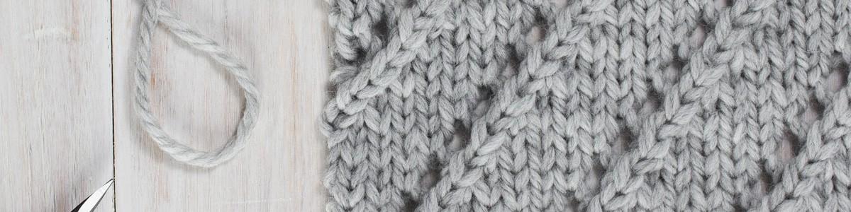 Up-close Photo of Diagonal Lace Knit Stitch