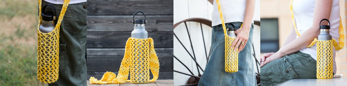 4 photos of a yellow water bottle sling