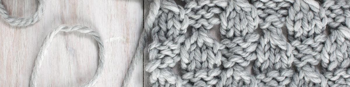 Up-close Photo of Checkered Lace Knit Stitch