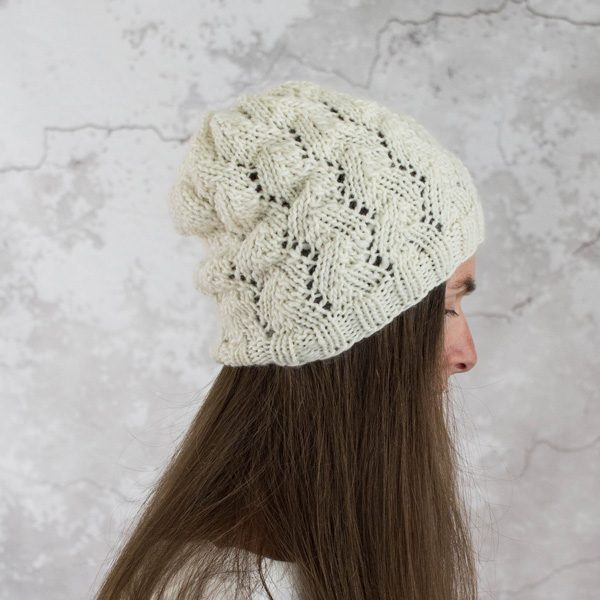 White, lacy hat on a model