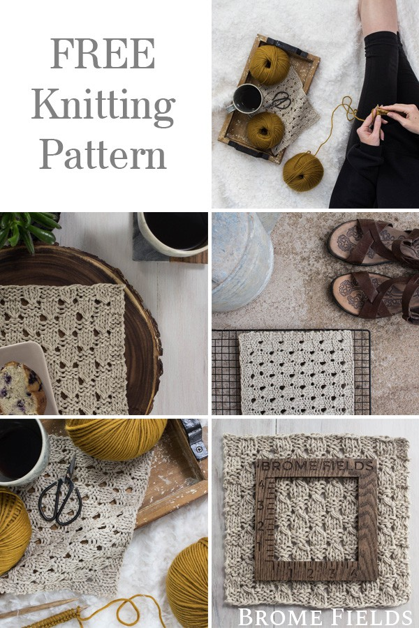 Multiple Photos of a Checkered Lace Knitting Pattern