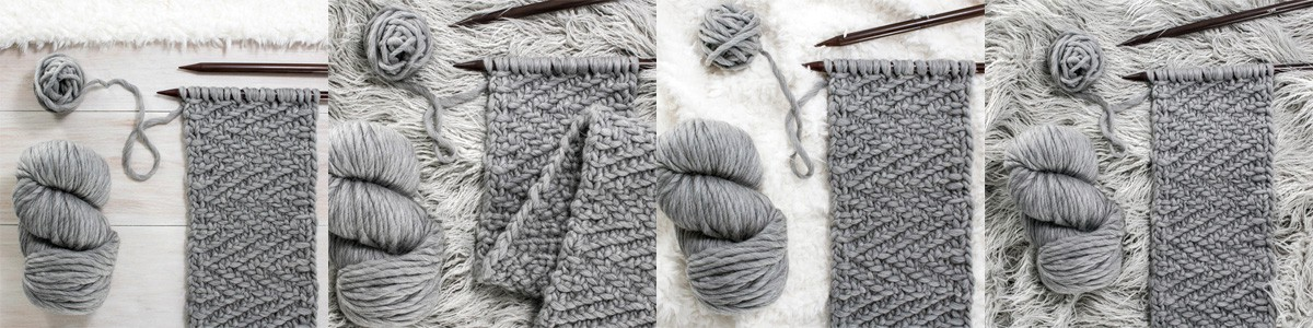 Multiple pics of a super bulky hand knit scarf