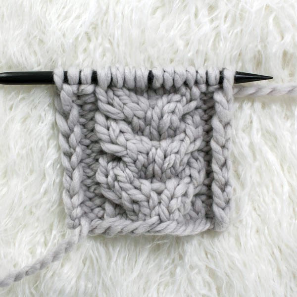 front side of swatch of cable knit stitch