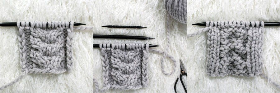 multiple pics of swatches of cable knit stitch