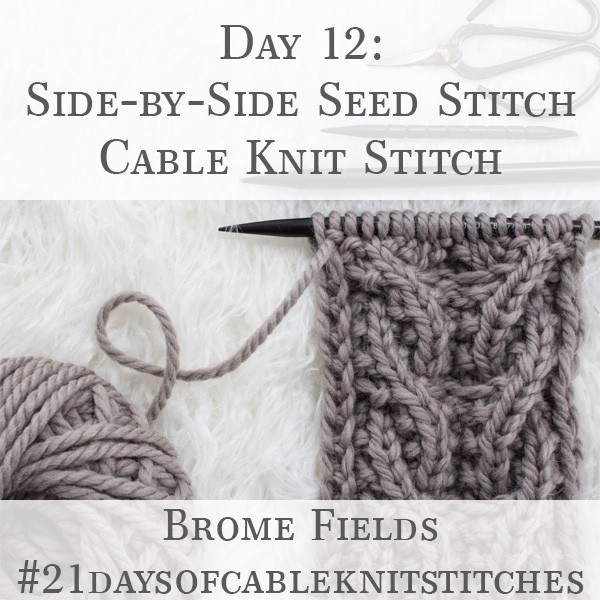 Day 12 : Side-by-Side Seed Stitch Cable Knit Stitch : #21daysofcableknitstitches