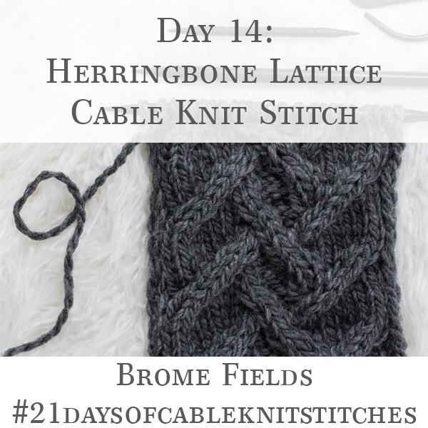 Day 14 : Herringbone Lattice Cable Knit Stitch : #21daysofcableknitstitches