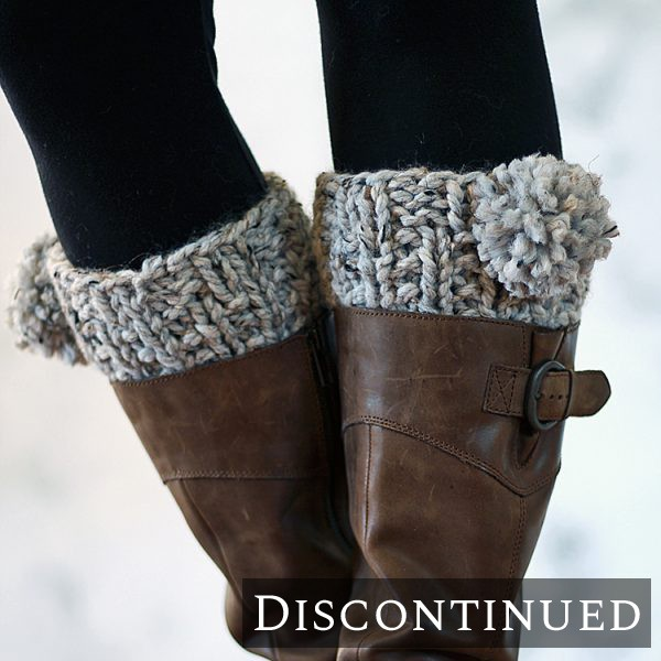 model wearing knitted boot cuffs