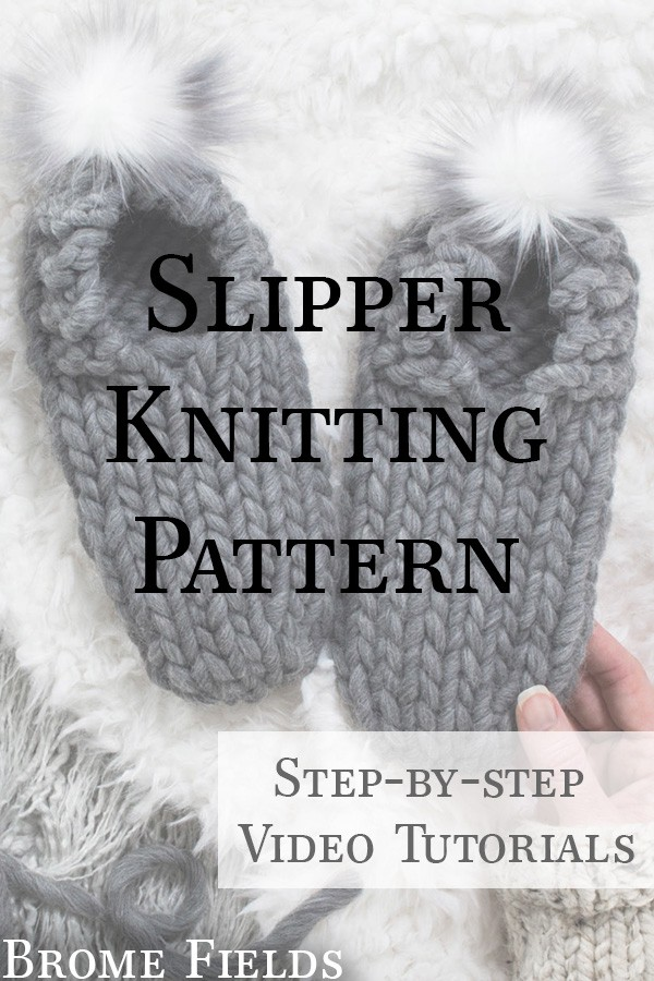 knit slippers with faux fur poms