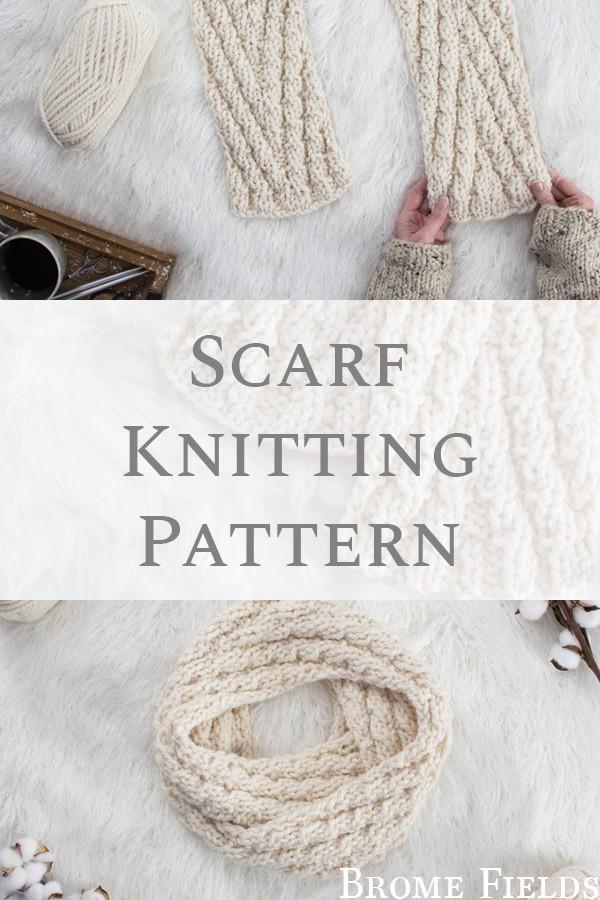 knit chevron scarf on a fur blanket