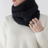 knit cowl on a model