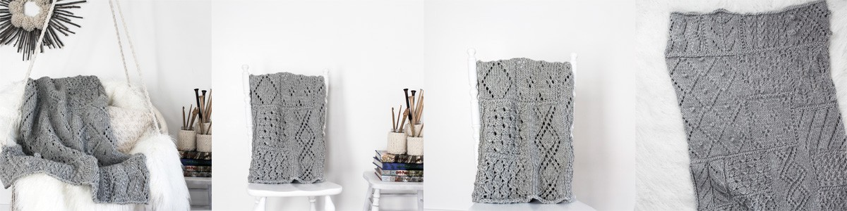 Multiple Pics of a Lace Knit Patchwork Throw Blanket